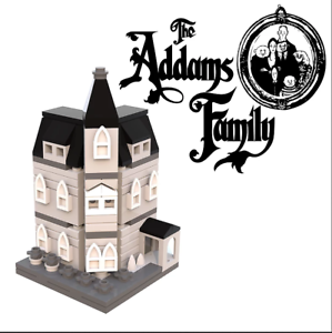 LEGO-Mini-modulaire-Famille-Addams-Manoir-instructions-seulement-custom-moc-BW