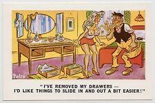 SAUCY POSTCARD - seaside comic, sexy woman big boobs drawers knickers PEDRO #200