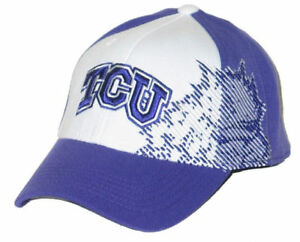 competitive price 397b8 e59a9 Image is loading TCU-HORNED-FROGS-WHT-SIDELINE-FLEX-FIT-HAT-