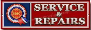 BMC SERVICE & REPAIRS METAL SIGN.BRITISH MOTOR CORPORATION.MO<wbr/>RRIS / AUSTIN CARS.