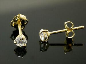 585 Gold Ohrstecker gestempelt 1 Paar 3 mm Zirkonia mit 3 Krappen