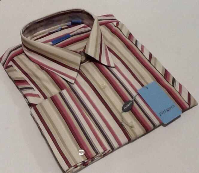 Allora Men's Designer Shirt -FUCHSIA STRIPPED BIG & TALL SIZES NEW WITH TAGS