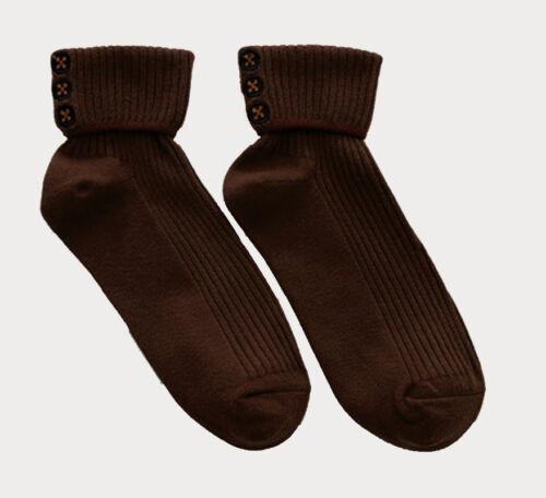 Ladies Harajuku Novelty Embroidered Button Rib Cotton Socks Everyday Gift