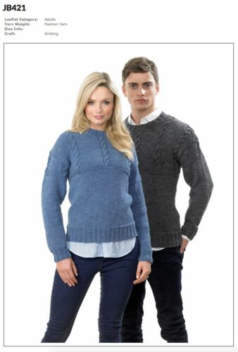 James C Brett Mens Ladies Jumpers Twisted Fashion Yarn Knitting Pattern JB421