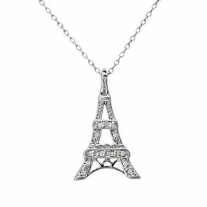 Sterling 925 110 cttw genuine diamonds eiffel tower pendant image is loading sterling 925 1 10 cttw genuine diamonds eiffel aloadofball Image collections