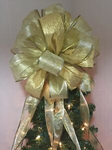 """**SALE** 15"""" Christmas Tree Topper Bow w/long streamers in ..."""