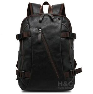 62c1ff215 Men's Vintage PU Leather Backpack School Bag Travel Satchel Book Bag ...