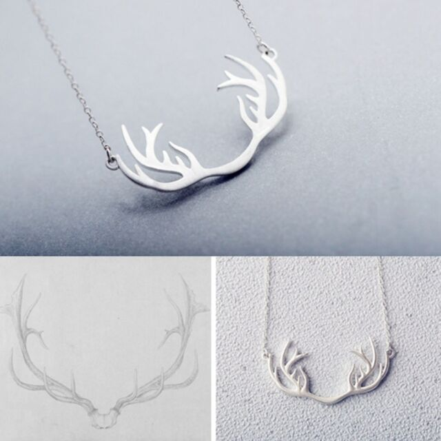 Classic Jewelry Silver Plated Women Lady Antler Deer Chain Pendant Necklace Hot\