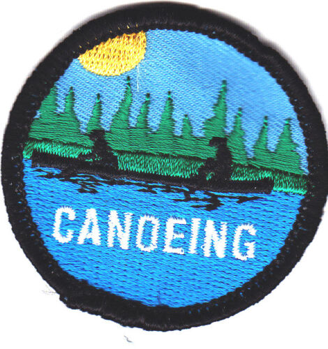 """/""""CANOEING/"""" Iron On Patch Water Sports Canoe Rowing"""