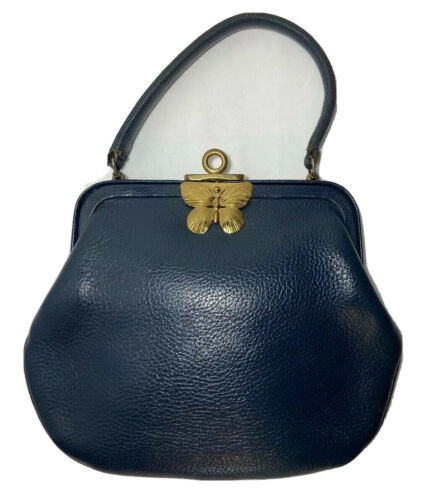Vtg Roger Van S Navy Blue Pebbled Leather Handbag