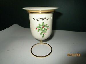 Lenox-Christmas-Porcelain-Candle-Candy-Dish-and-Metal-Stand-Holiday-Poinsettia