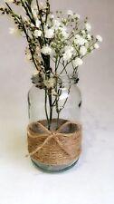 10 x Glass Jars Vintage Vases Wedding Centrepiece Shabby Chic Hessian Lace Twine