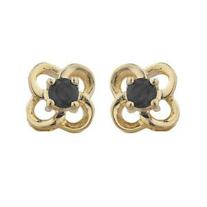 Details About 14kt Gold Genuine Black Onyx Love Knot Stud Earrings