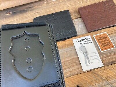 """Vintage Alfonsos Leather  Police Fire Large Shield Badge ID Wallet 3 3//4/"""" 3 3//8/"""""""