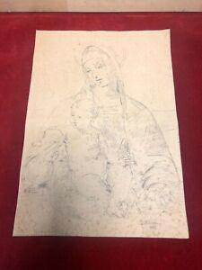 Marcel-Norsac-dessin-ancien-signe-date-1935-Vierge-a-l-039-enfant