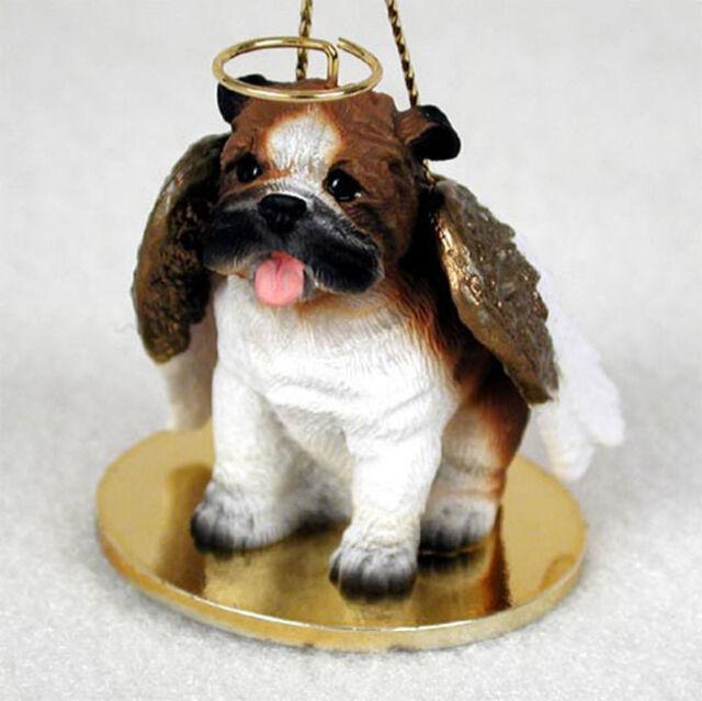 Bulldog Dog Figurine Angel Statue Hand Painted