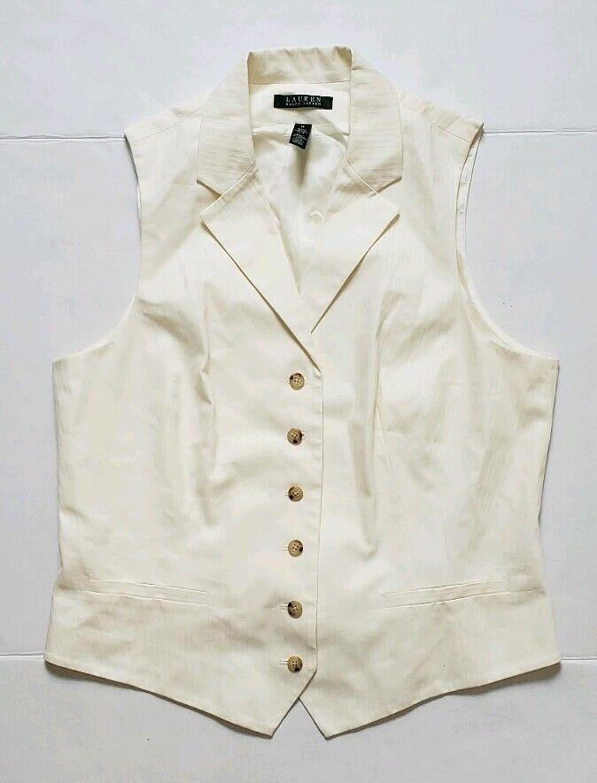 NWT Lauren Ralph Lauren Womans White Button Vest Size 14