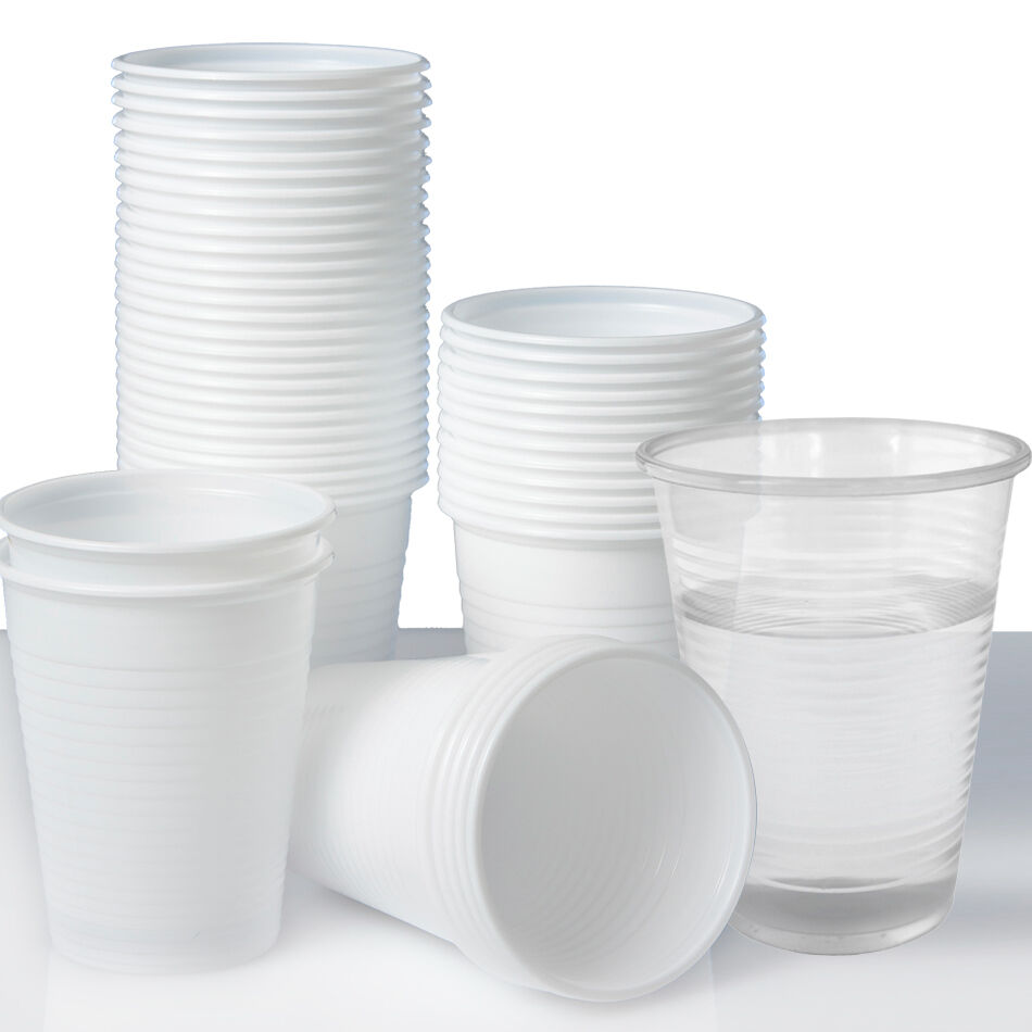 Plastic Disposable Cups Or Glasses X 100 Clear White 180ml Perfect For Parties Ebay