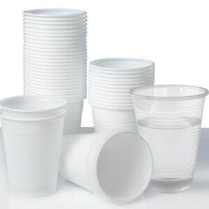 Plastic-Disposable-Cups-or-Glasses-x-100-Clear-White-180ml-Perfect-for-Parties