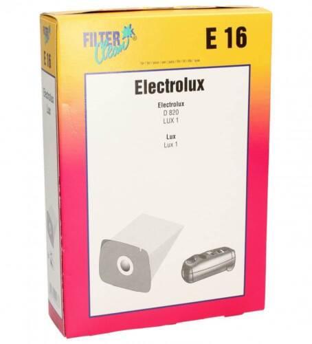 Filter Clean E16 5 sachets sacs d/'aspirateur Electrolux D820 LUX1 Lux 1