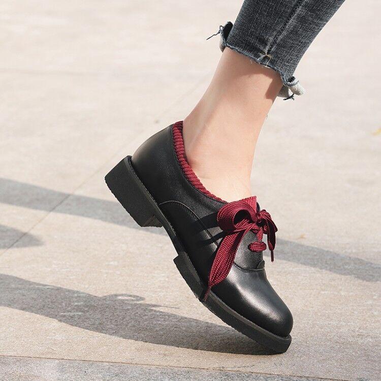 negozio all'ingrosso donna Fashion British Leather Lace Lace Lace Up Block Low Heels Collegiate Oxford scarpe  prezzi bassi