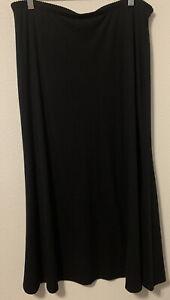J. Jill Plus Sz 1X Black Rayon Blend Knit Stretch Maxi Long Skirt Classic