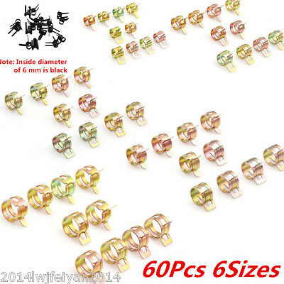 60Pcs Pipe Hose Clamping Spring Clip Fuel Line Water Pipe Clamp Air Tube 6 Sizes