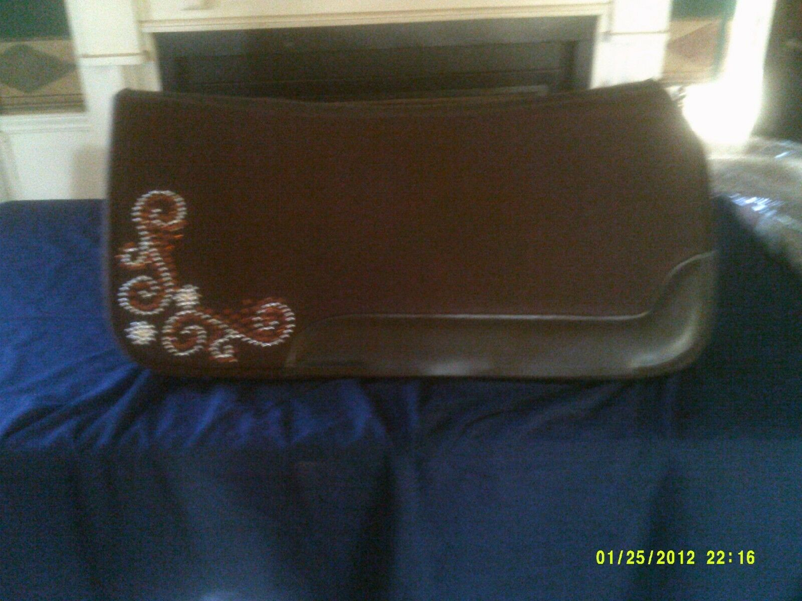 Saddle Pad Show Style Felt with Crystals Brown