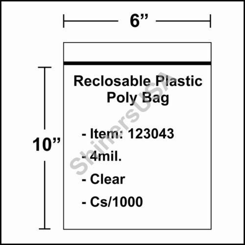 123043 4 mil Reclosable Poly Bag 6x10 Clear Ziplock cs//1000