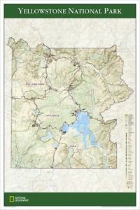 """NEW National Geographic Yellowstone NP Wall Map 24"""" x 36"""" Tubed RE01020308"""