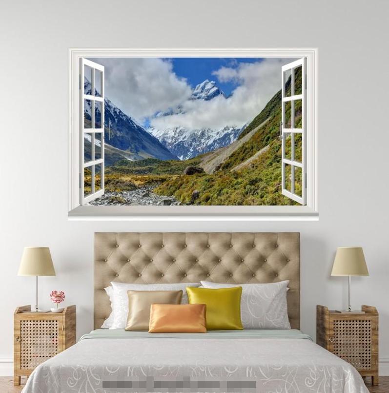 3D Mount Weiß Clouds 155 Open Windows WallPaper Murals Wall Print AJ Jenny
