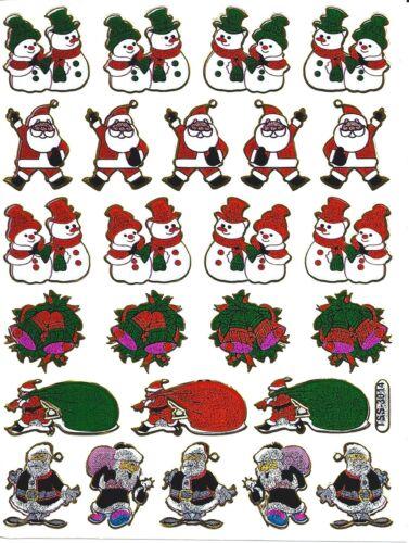 Stickers scrapbooking metallisés pére Noel bonhomme neige planche 13 cm x 10 cm
