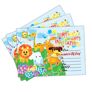 20 x jungle animals kids birthday party invitations girls boys image is loading 20 x jungle animals kids birthday party invitations stopboris Gallery