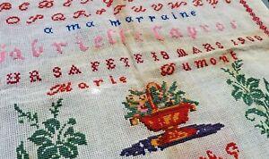 Ancien Abecedaire Broderie Ancienne Aux Points De Croix Vers 1900 Ebay