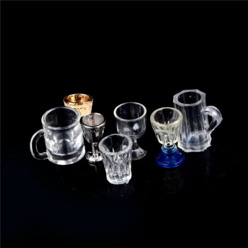 1:12 Dollhouse Miniature Kitchen Glass Beer Wine Cup Drink Bottles Decor HICA