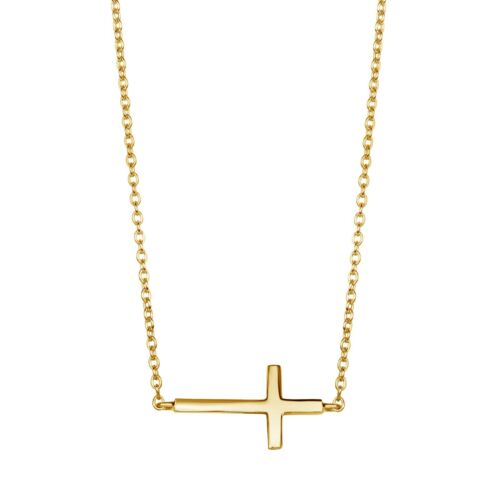 Sterling Silver Gold Overlay Baby Sideways Cross Necklace
