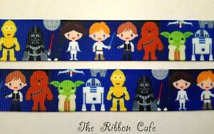 Star-Wars-cartoon-printed-grosgrain-ribbon-22mm-wide-2-METRES