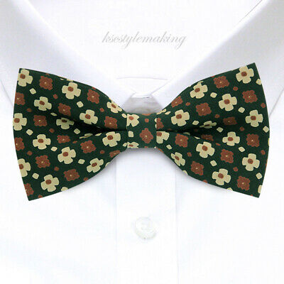 *BRAND NEW* RED/&WHITE FLOWERS BLACK FLORAL TUXEDO MENS BOW TIE B371
