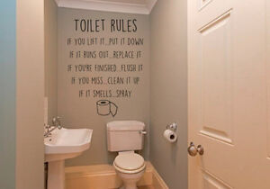 Image Is Loading Toilet Rules Bathroom Fun Decor Flush Spray Wall