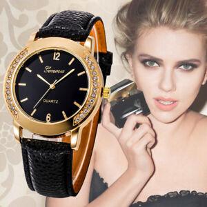 Moda-Donna-Diamanti-Acciaio-Inox-pelle-Quarzo-Analogico-Orologio-da-Polso