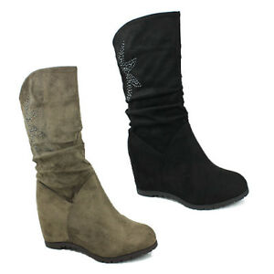 Heel Khaki Size 8 New Mid Slouch Casual Wedge Womens Ladies Boots Shoes Calf 3 AxB5nw