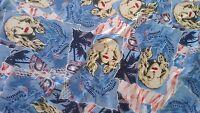 Blue Nylon Lycra Fabric with Madonna design - FREE UK P&P