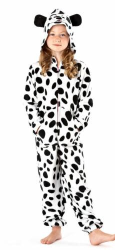 Girls Fleece Jumpsuit All-in-One with Hood Size 9//12 Years Cow Dog Pyjamas Kids
