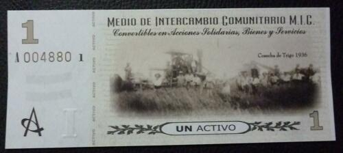 ARGENTINA EMERGENCY BANKNOTE 1 Activo UNC 2002 Cordoba