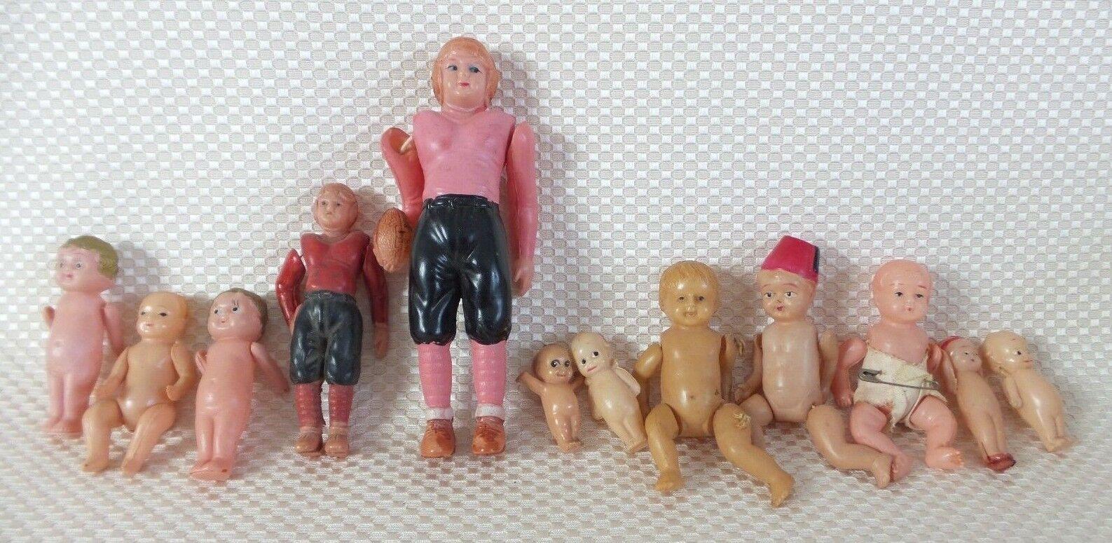Lote de 12 Figuras De Celuloide Miniatura Vintage Japonés y bebés
