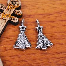 50Pcs 21mm Charms christmas Tree Pendant Tibet Silver Bead Bail DIY Jewelry 7175