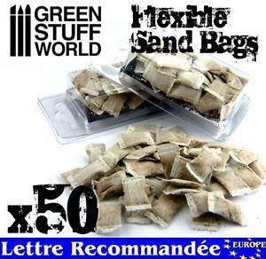 50x Sac de Sable Flexible - Décors Modélisme 40k Socles Tranchées Dioramas Chars