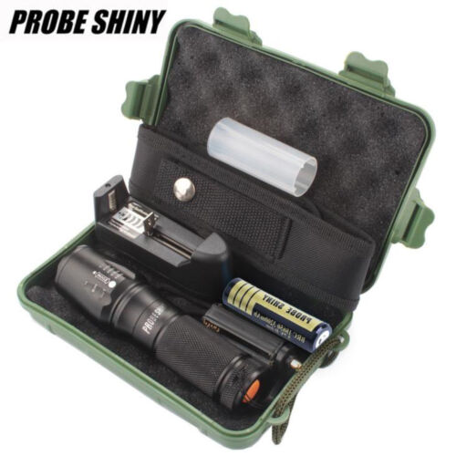 PROBE SHINY X800 Zoomable XML T6 LED Tactical Flashlight Battery+Charger+Case