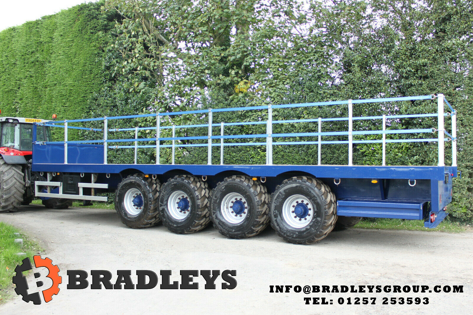 32ft Low Ground Pressure 4 Axle Flat Trailer Agri hitch & fall protection system