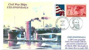 Uss-Onondaga-Union-Navy-Controlar-Guerra-Civil-Barco-Color-Cachet-Tapa-Pictorico